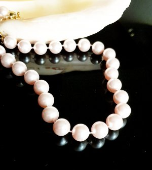 Rose farbene Perlenkette mit Verlängerungskette