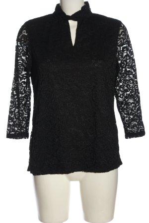 Rose + Olive Koronkowa bluzka czarny W stylu biznesowym