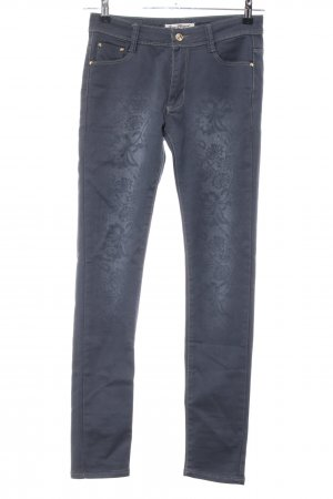 Rose Player Skinny Jeans hellgrau Blumenmuster Casual-Look