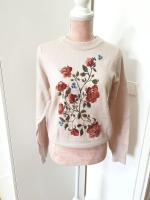 rosè Pullover mit Blumenaufdruck