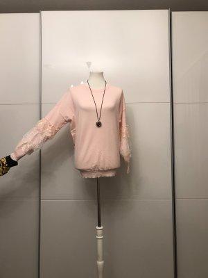 Rose Pullover mit Perlen