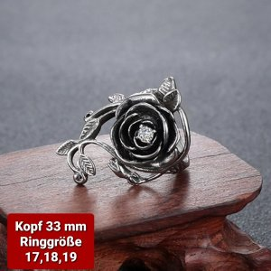 Rose Ring aus Chirurgenstahl ( Kopf 33 mm)