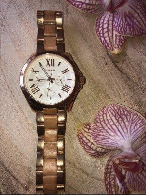 Fossil Reloj con pulsera metálica color rosa dorado