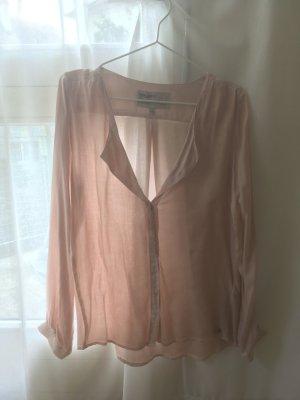 Rosefarbene Langarm-Bluse