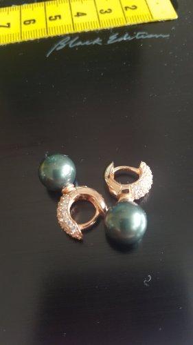 Boucles d'oreilles en perles or rose-gris anthracite