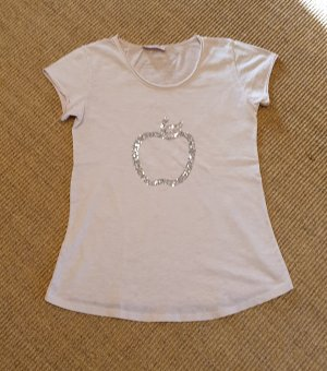 rosefarbenes T-Shirt mit Pailletten