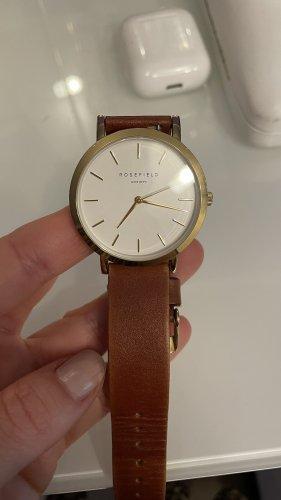 ROSEFIELD Horloge met lederen riempje goud-lichtbruin