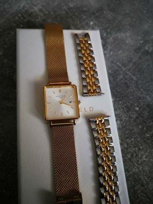Rosefielduhr Boxy gold plus Wechselarmband bicolor