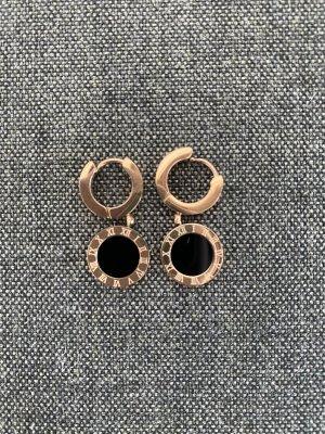 Wiszące kolczyki czarny-w kolorze różowego złota