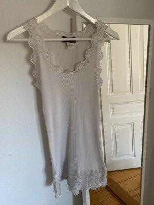 Rosemunde Top di merletto bianco-bianco sporco Seta