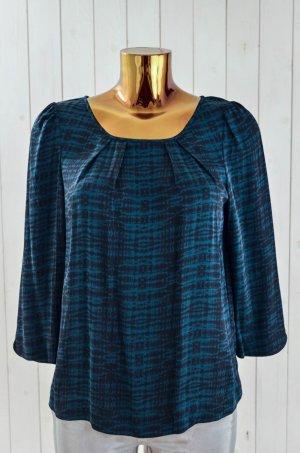 ROSEMUNDE Damen Bluse Oberteil Schwarz Grün Batik Seide Elasthan 3/4-Arm Gr.38