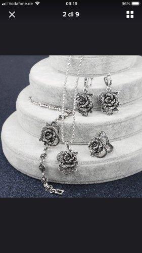 Rosen Vintage Set Kette Ohrringe Ring gr 18/57 neu