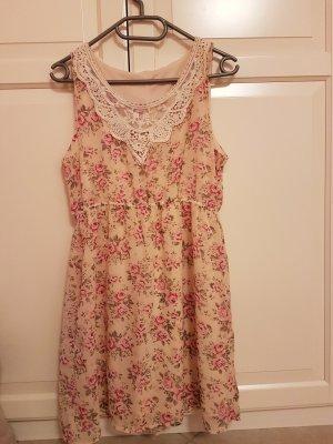 Rosenkleid mit Spitze am Ausschnitt