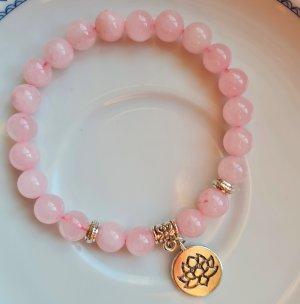 Rosenquarz Armband mit Lotus Anhänger / Mala Heilarmband aus Halbedelsteinen