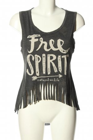 Rosidam Top cut out gris claro-blanco puro letras impresas look casual