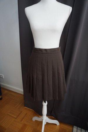 Rosner Plaid Skirt dark brown wool