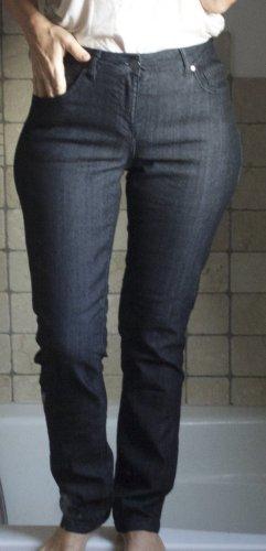 Rosner Jeans, Abby2 straight leg, gerader Schnitt, hoher Bund High Waist, glatter Denim ohne Waschung, Business tauglich, elegant, schwarz, Baumwolle Elasthane, bequem, enger Bund, neuwertig Gr. 38 / Lg. 32