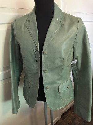 Rosner Lederjacke Blazer Retro Style Ziegenleder Grün Gr. 36 Neu