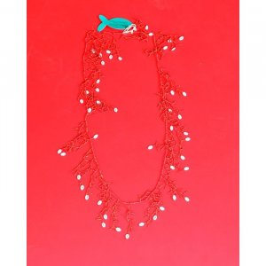 Antica Sartoria Shell Necklace oatmeal-red
