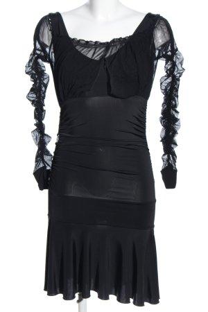 Rossodisera Stretchkleid schwarz extravaganter Stil