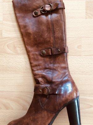 Rost- Braunfarbene Stiefel im Vintage Styl  - Leder -  Gr. 38 - 8 cm Absatz