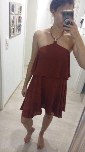 H&M Sukienka z falbanami złoto-rudy