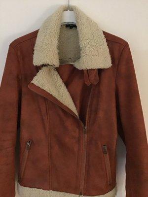 Biker Jacket dark orange fake fur