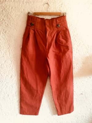 Zara Baggy Pants dark orange-russet linen