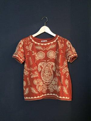 Rostrotes Orient-Shirt aus Baumwolle
