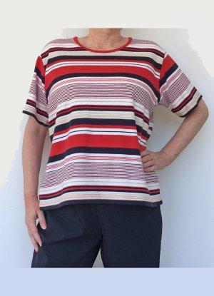 Hajo Sweater met korte mouwen rood-donkerblauw Katoen