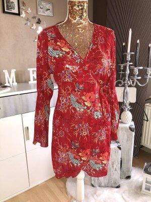 Rot-bunte Kleid/Wickeltunika