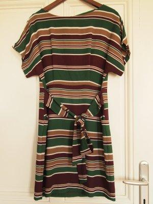 Rot grün gestreiftes Kleid mit Wickelgürtel von Forever2
