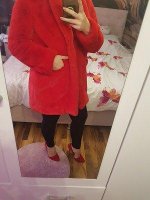 Rot kunstfell Jacke (faux fur)