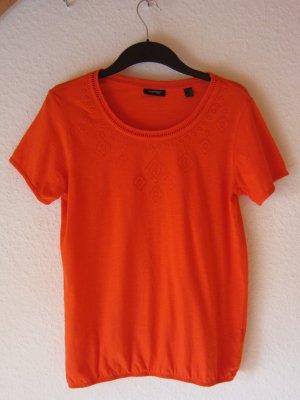 Rot-orangenes Shirt mit Stickerei und Lochblende