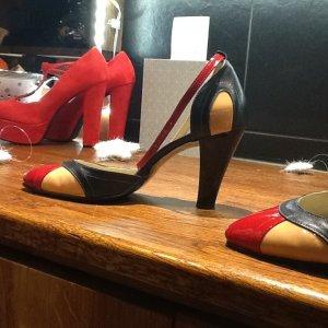 rot red black schwarz beige nude peeptoe pumps clasic sandal high heels