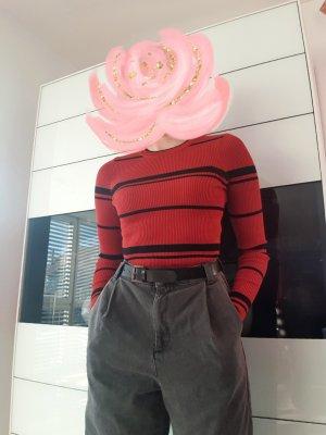 Forever 21 Camisa acanalada negro-rojo ladrillo