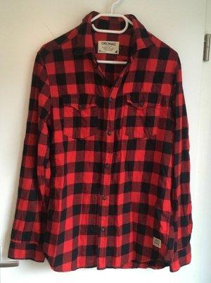 Jack & Jones Lumberjack Shirt black-brick red cotton