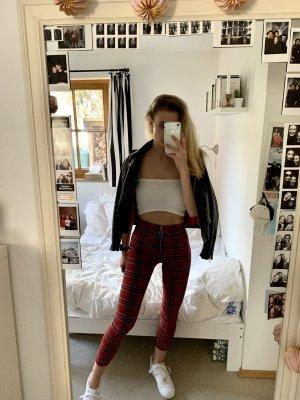 Rot schwarz weiß karierte leggings ZARA
