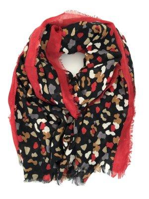 Codello Écharpe en laine noir-rouge foncé
