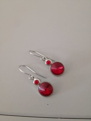 Accessoires Pendientes colgante color plata-rojo