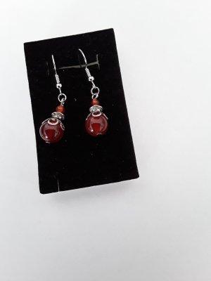 Kolczyk z perłą srebrny-czerwony