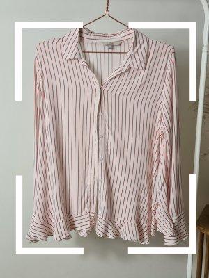 Rot weiß gestreifte Bluse mit Volants, gr. 40
