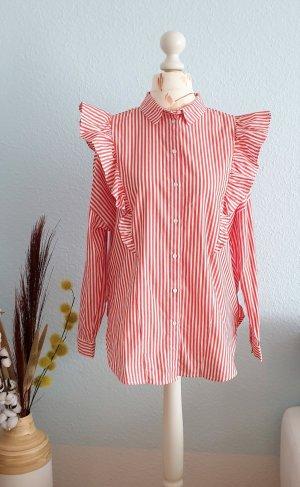 Monki Oversized blouse wit-rood Katoen