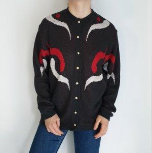 rot weiß grau Jacke Cardigan Strickjacke Oversize Pullover Hoodie Pulli Sweater Top True Vintage