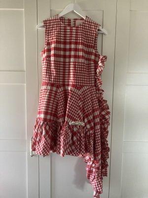 Simone Rocha Sukienka z falbanami ciemnoczerwony-biały