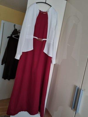 Rot weiße Abendkleid
