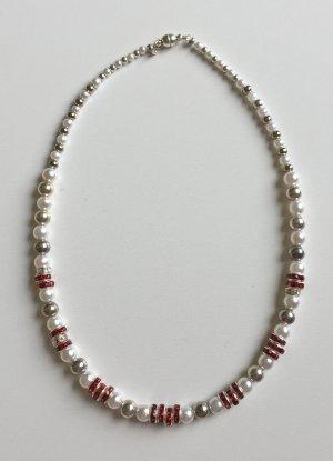 rot-weiße Kette mit Strass, 39 cm lang