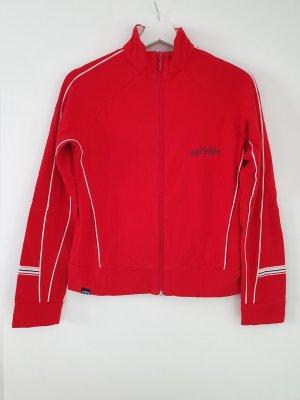 rot-weiße Sportjacke / Trainingsjacke mit Reißverschluss und Adidas-Logo am Rücken
