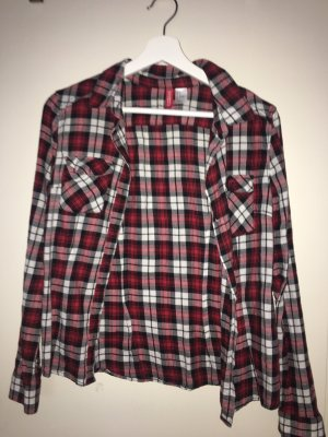 H&M Flannel Shirt white-dark red