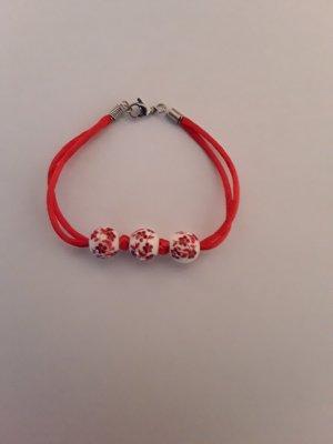 Rot weißes Perlen Armband